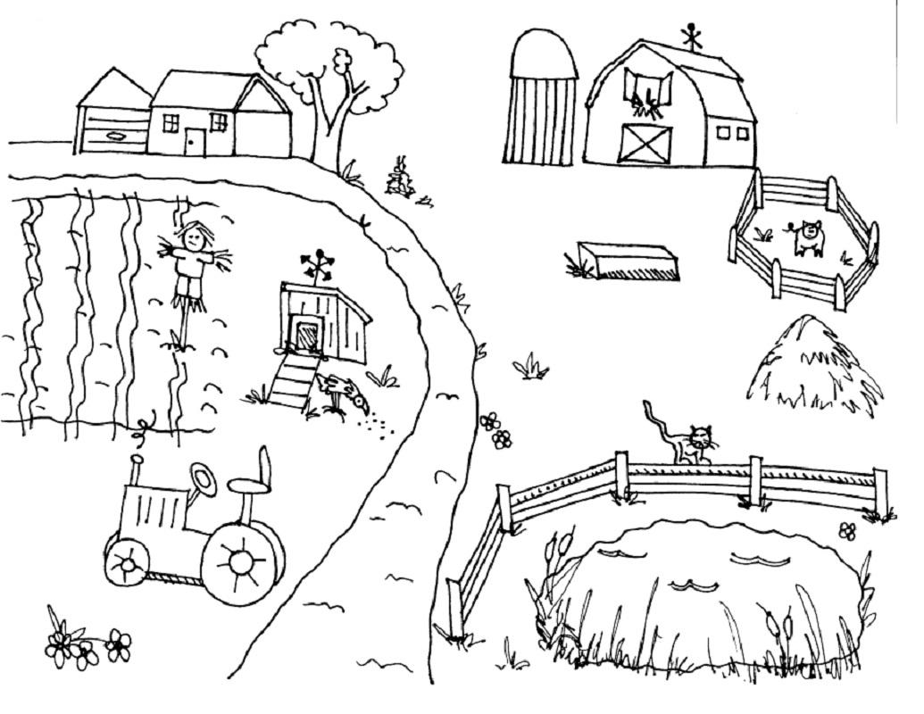 Tổng hợp các bức tranh tô màu bác nông dân cho bé