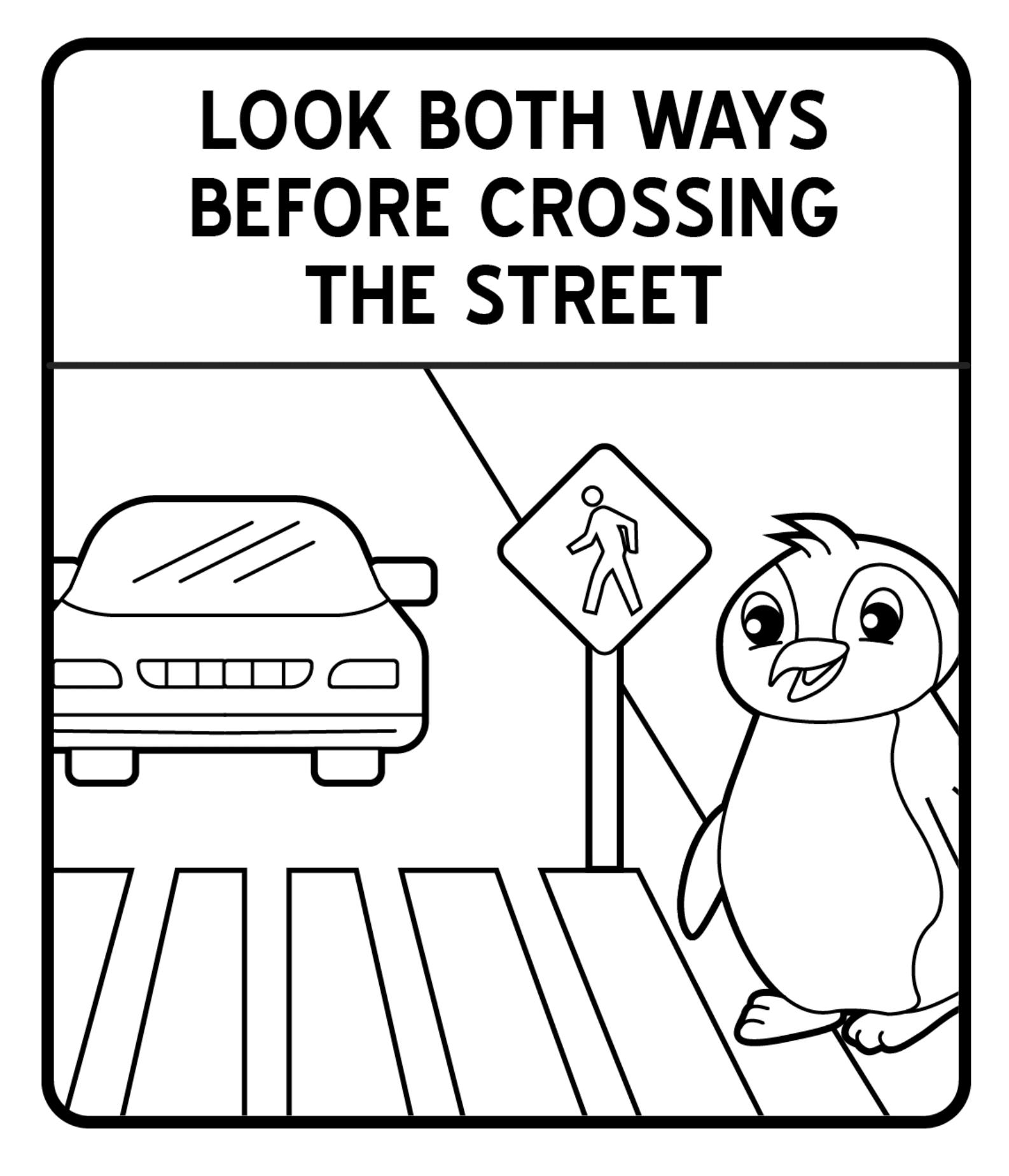 Tổng hợp các bức tranh tô màu biển báo giao thông cho bé