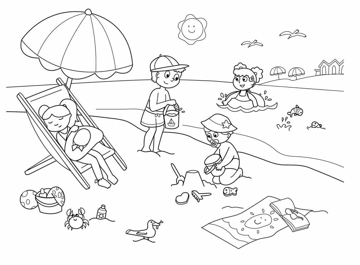 Tổng hợp các bức tranh tô màu cảnh biển cho bé tô màu