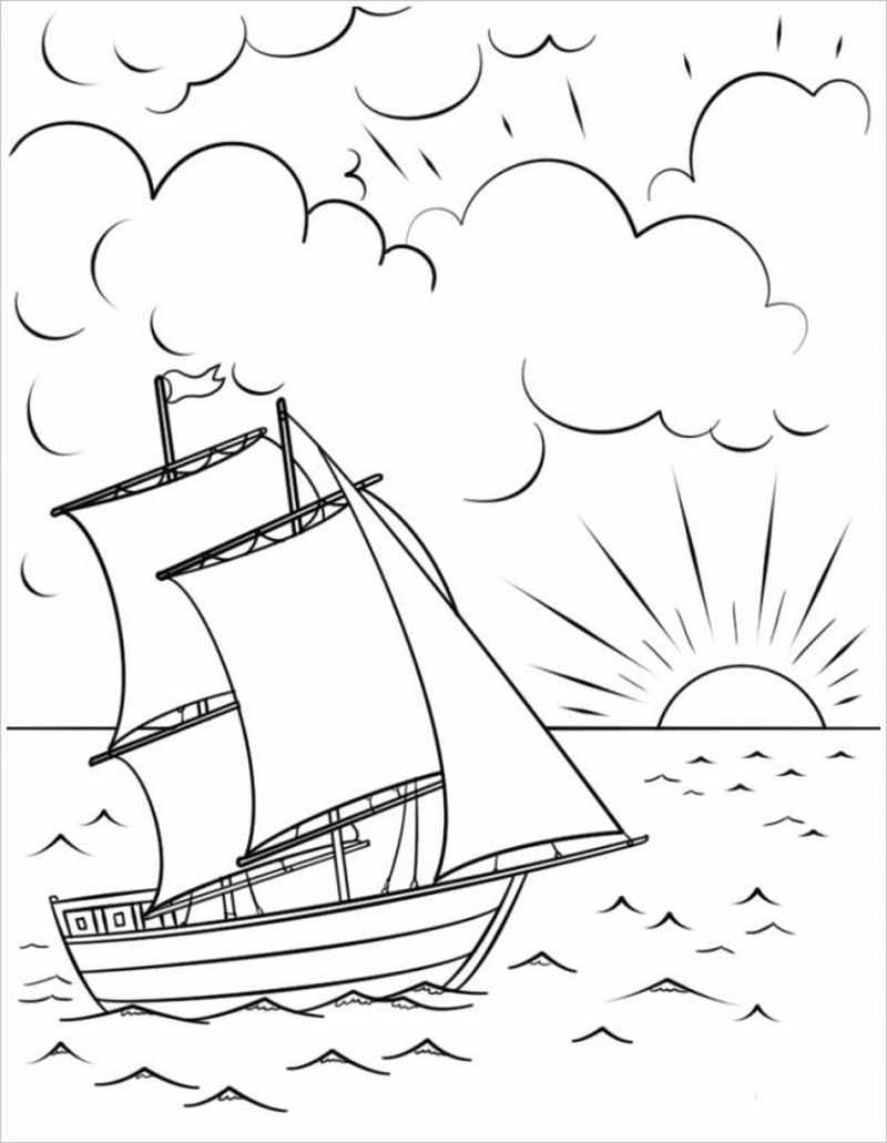 Tổng hợp các bức tranh tô màu cảnh biển cho bé