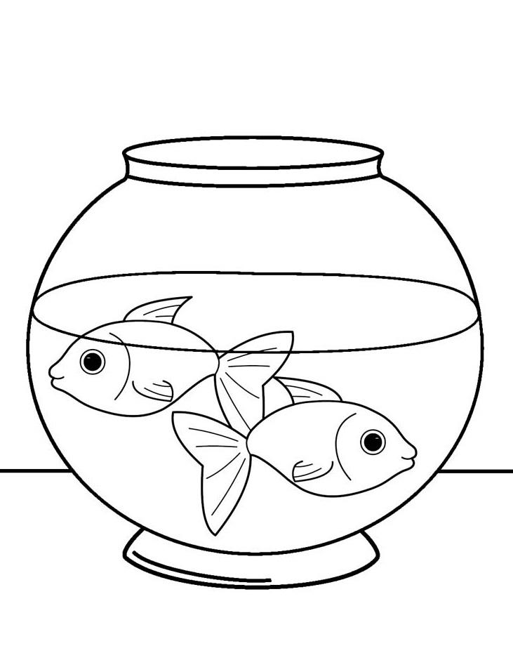 Tổng hợp các bức tranh tô màu chú cá vàng đáng yêu cho bé