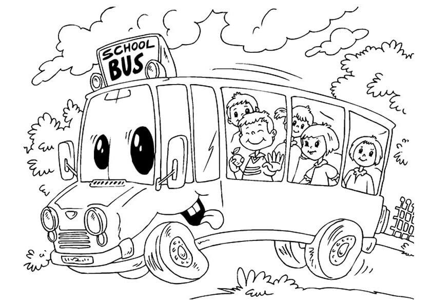 Tổng hợp các bức tranh tô màu xe buýt cho bé